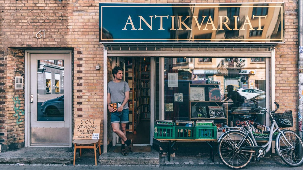 Second-hand bookshop in Copenhagen's Nordvest area.