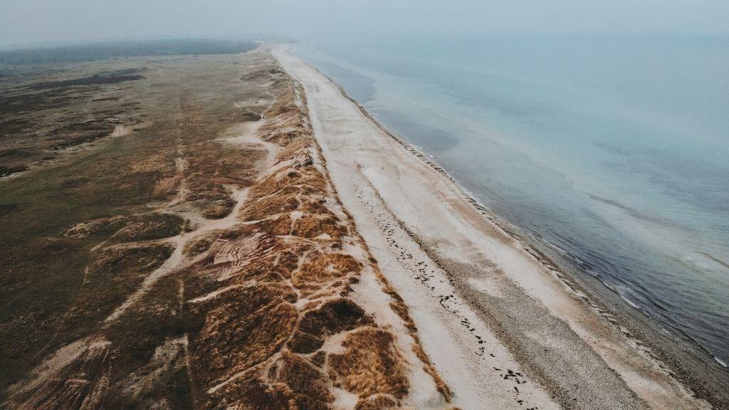 Billede fra luften af heden Melby Overdrev i Nordsjælland