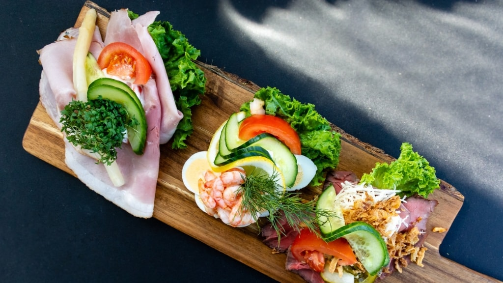 Danish open-faced sandwiches at Café Svanen in Holbæk