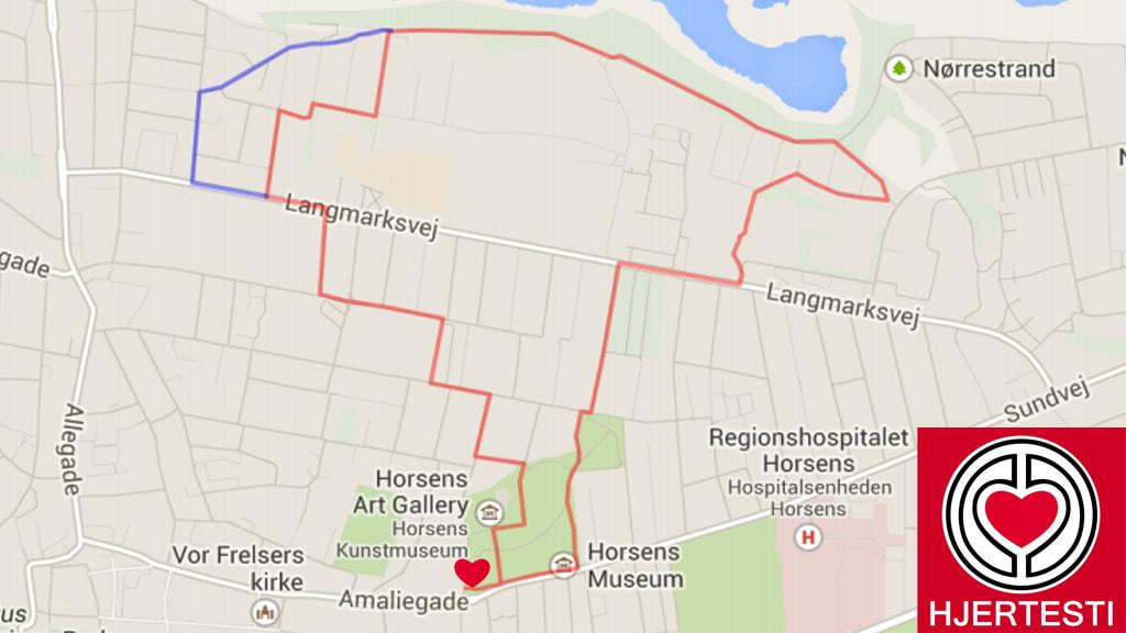 Kort over hjertestien i Horsens Nord