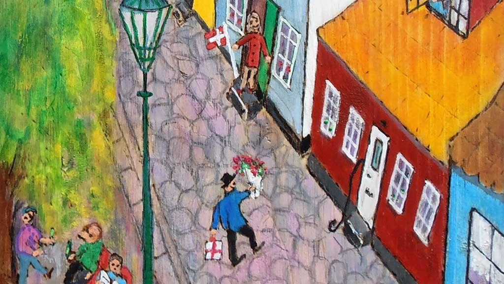 Udsnit af maleri af Birgit Højkilde