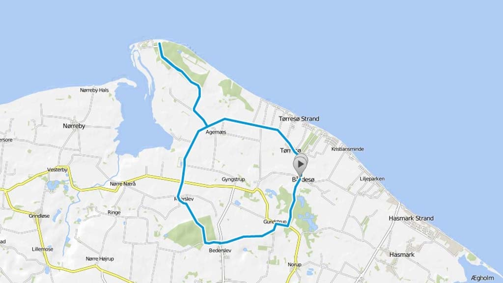 Cykelkort over Flyvesandsruten
