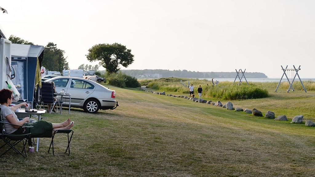 Nyborg Strand Camping udsigt til Storebæltsbroen afslapning