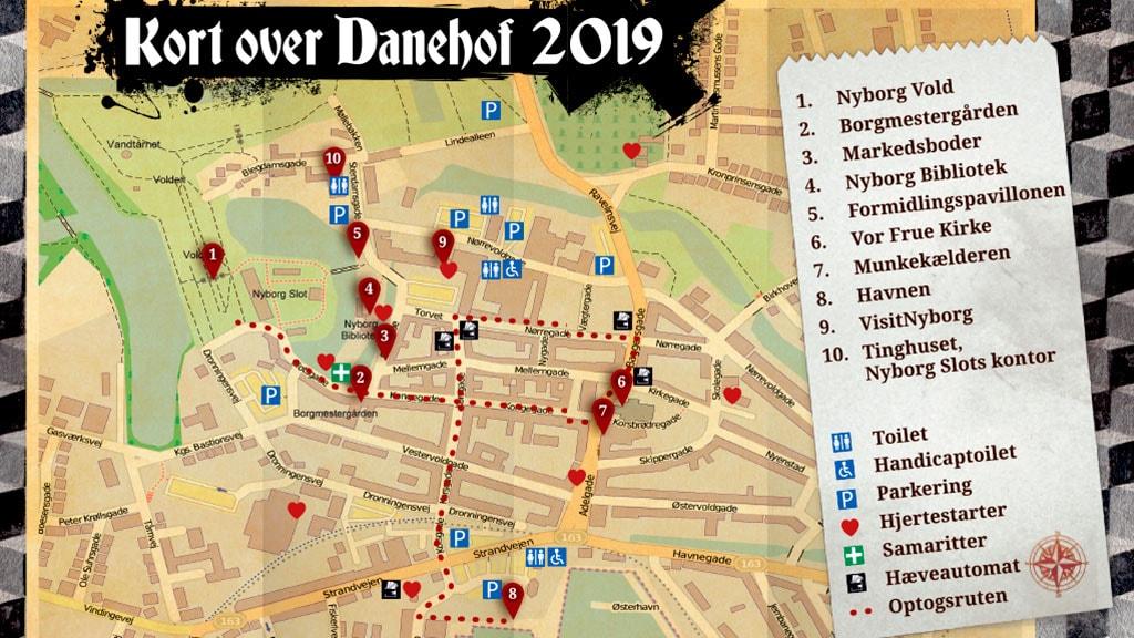 Kort over Danehof 2019 i Nyborg