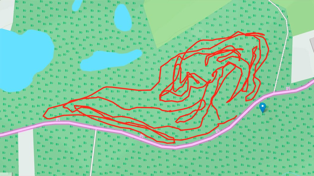 Kort over MTB-sporet i Æbleskoven ved Nyborg
