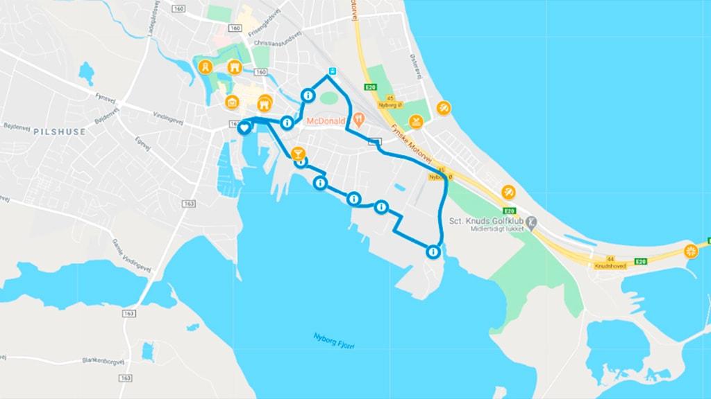 Kort der viser den blå Kløversti i Nyborg