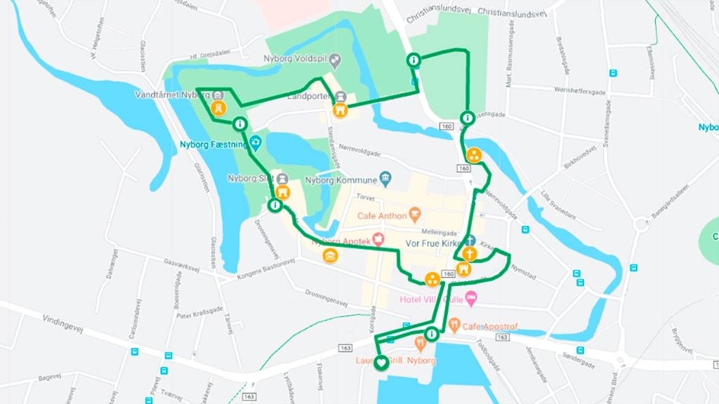 Kort der viser grøn kløversti i Nyborg