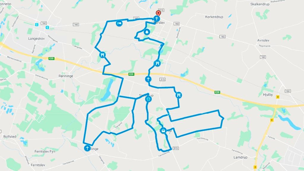Kort der viser cykelrute Ullerslev Syd ved Nyborg