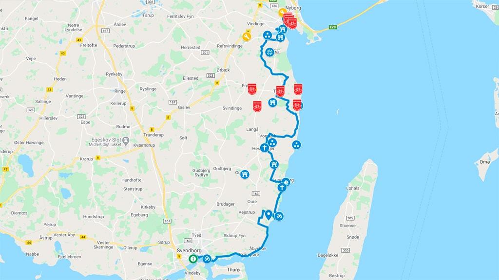 Kort der viser cykelrute N8 - Østersøruten - mellem Nyborg og Svendborg