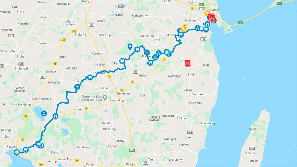 Kort der viser cykelrute 51 mellem Nyborg og Faaborg