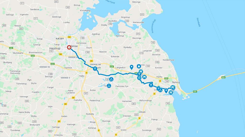 Kort der viser cykelrute 6 fra Nyborg via Odense til Middelfart