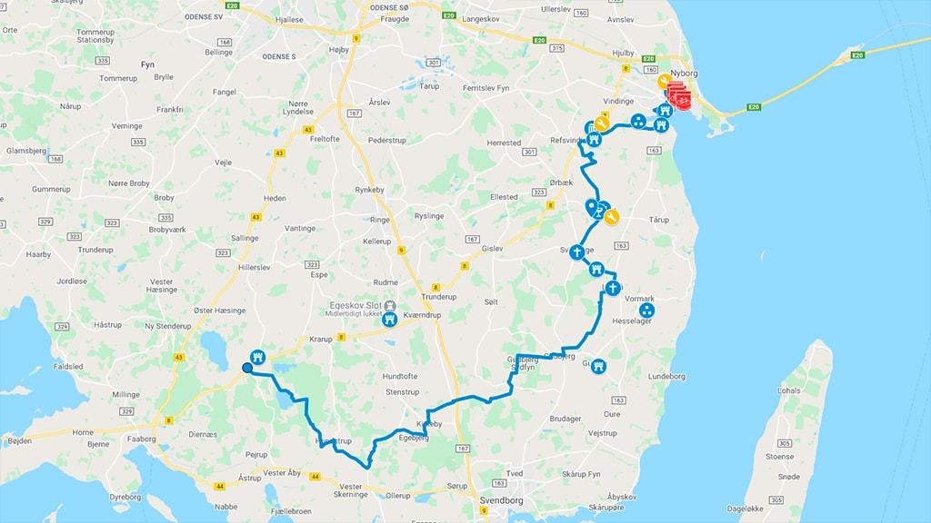 Kort der viser cykelrute 79 mellem Nyborg og Korinth
