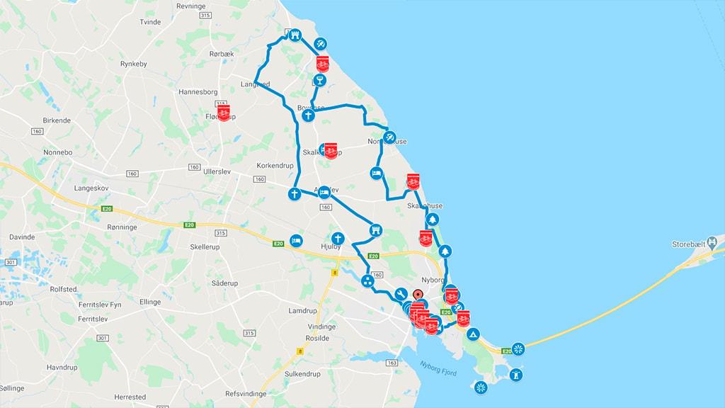 Kort der viser cykelruten Nyborg Nord