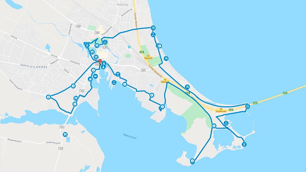 Kort der viser cykelruten i Nyborg til Knudshoved og Slipshavn