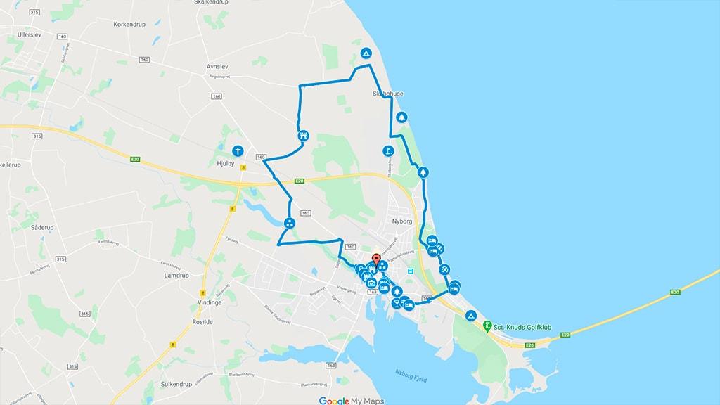Kort der viser cykelruten i Nyborg til Regstrup og Hjulby Sø