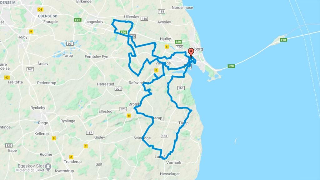 Kort der viser mølleruten i Nyborg