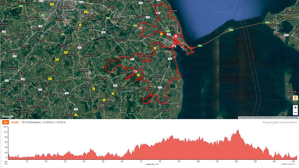 Kort der viser cykelruten Nyborg Off-Road By Bike