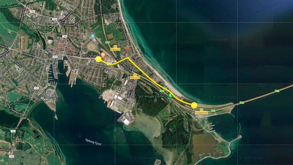 Kort der viser Tour de France 2021 opløbsstrækningen i Nyborg