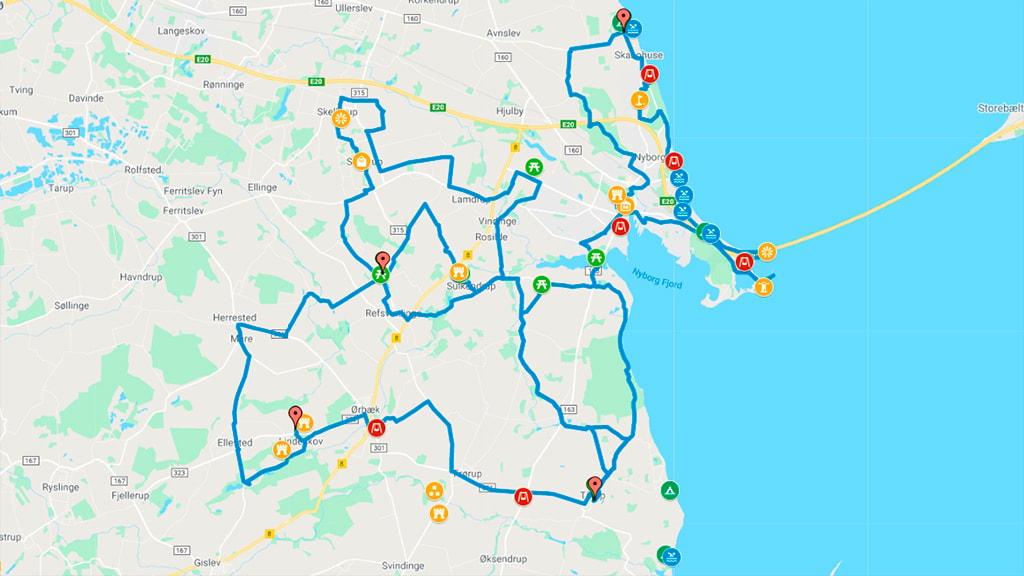 Kort der viser cykelruter til familievenlige oplevelser i Nyborg