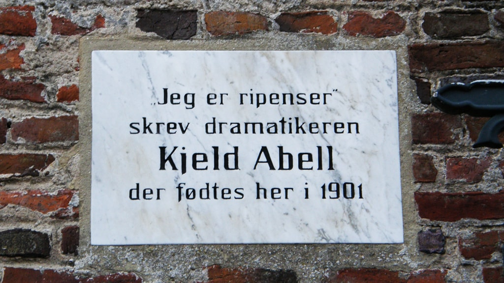 Memorial plaque for author Kjeld Abell