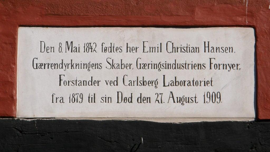 Memorial plaque over Emil Christian Hansen