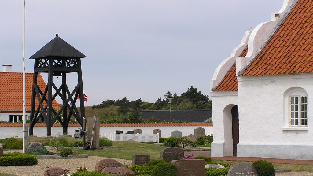 Mandø Kirche und Glockenturm