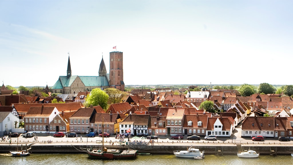 Ribe Cathedral with the Skibbroen in the foreground