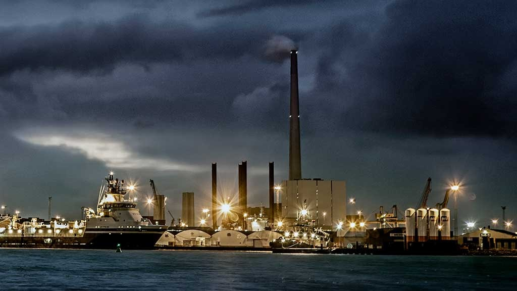 Esbjerg Harbor at evening time