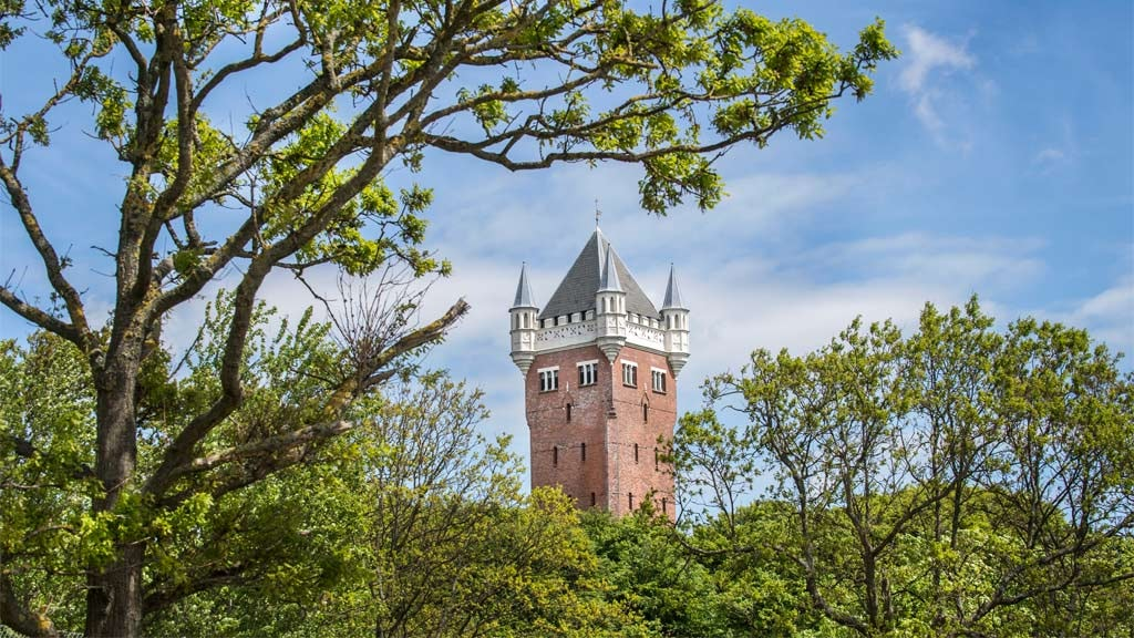 Esbjerg Water tower seen through tree tops