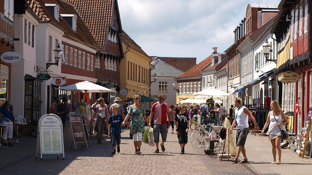 The pedestrian street in Ribe