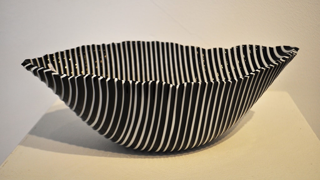 Striped glass bowl from Ribe Glass & Gallery