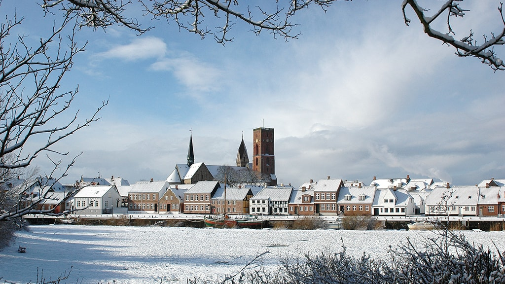 Skibbroen with snow and Ribe Cathedral in the background