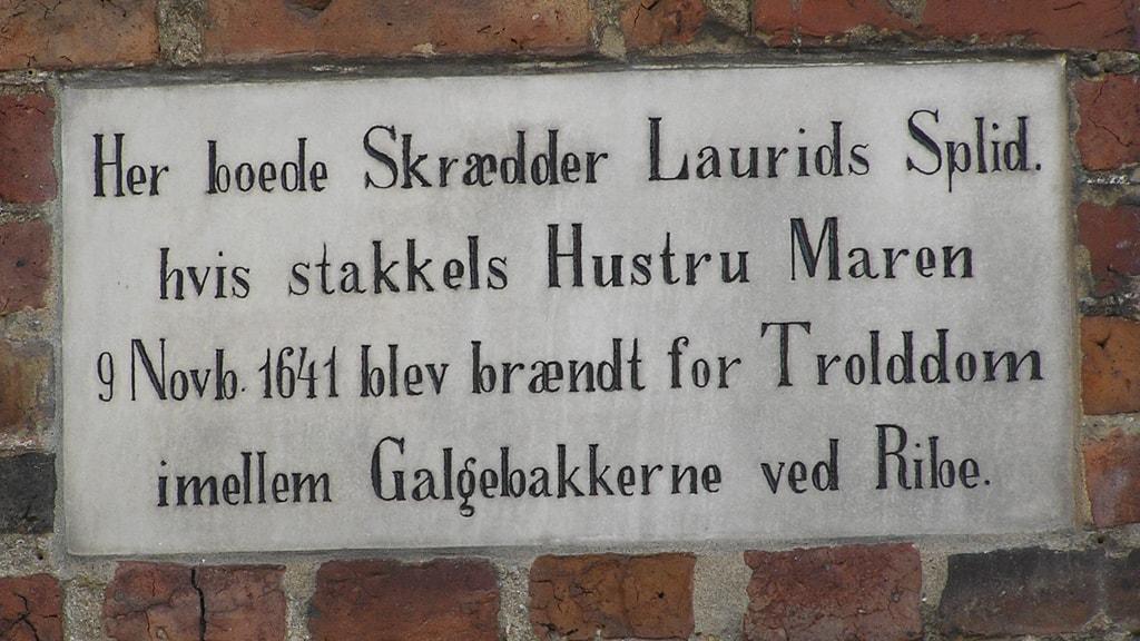 Memorial board on Maren Spliid in Ribe