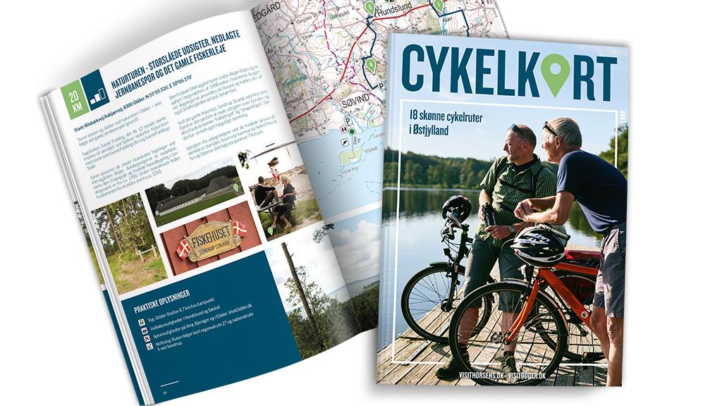 Cykelkort med 18 skønne cykelruter i Østjylland