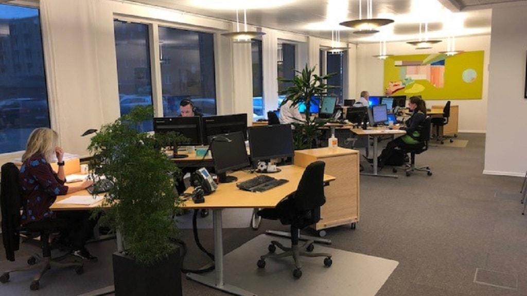 Kontorfaciliteter ved banken Nykredit i Horsens