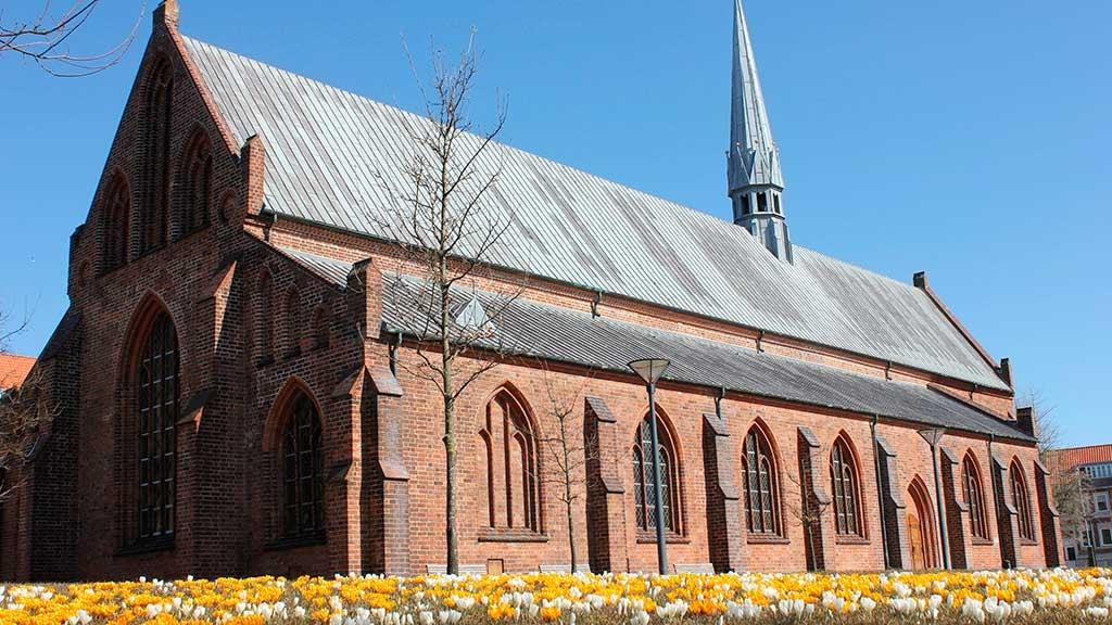 Horsens Klosterkirke set fra sydvest på kirkegården med krokus i græsset