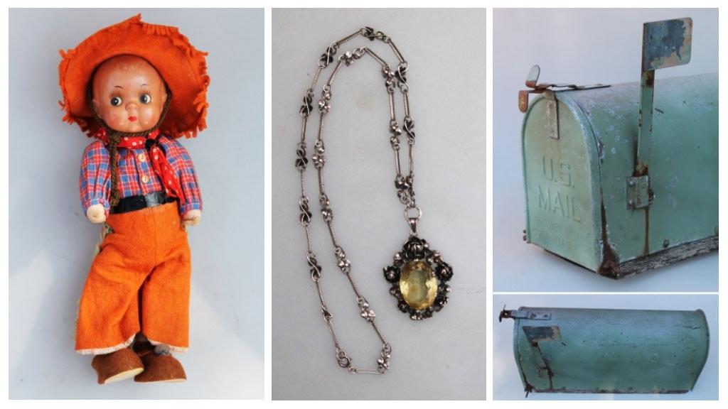 Diverse varer fra antikvitetsforretningen Den Blaa Fasan