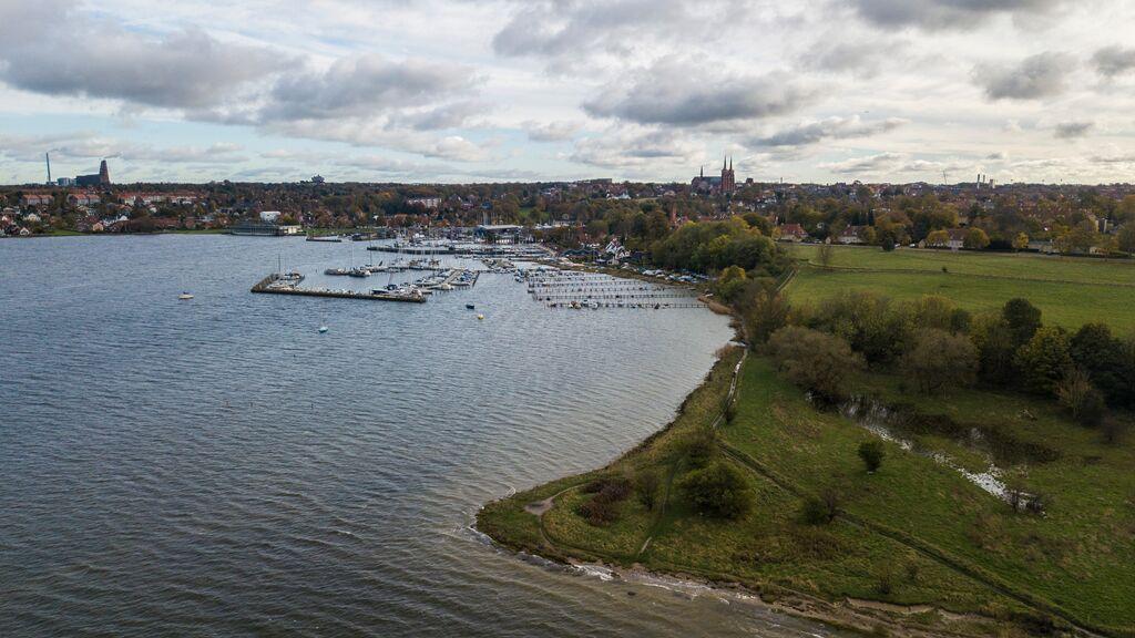 Dronebillede af Roskilde
